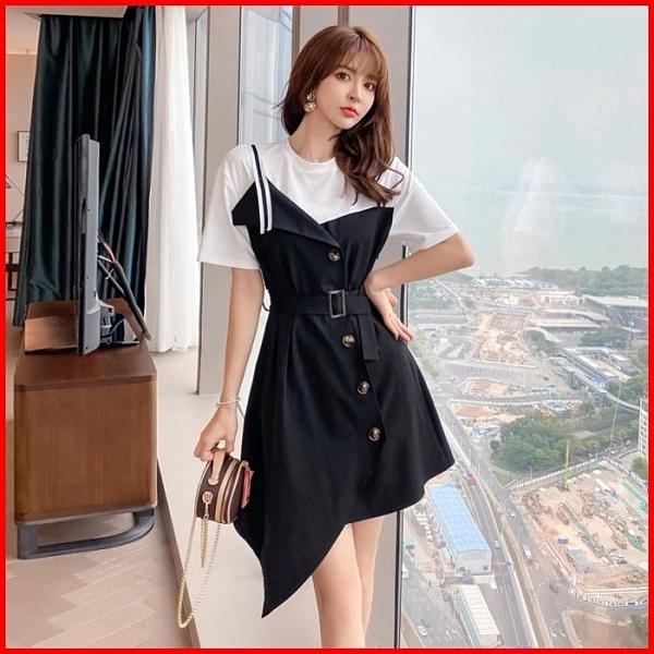 韓系春夏短袖洋裝婚禮宴會派對連身裙拼接不規則短款連衣裙 依二衣