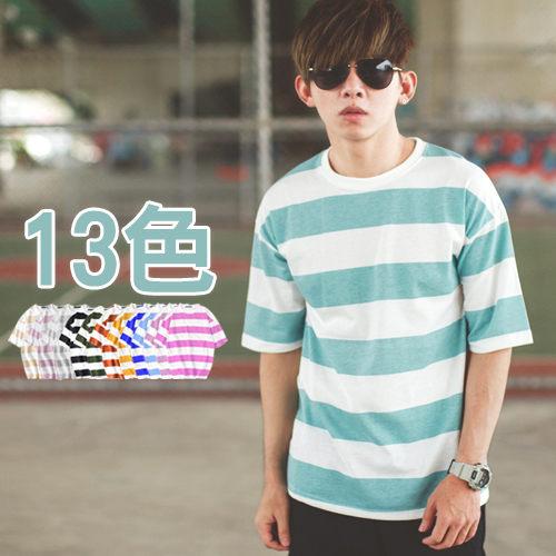 【NB0241J】韓國製落肩寬橫條紋 圓領短T(LE-DD082)