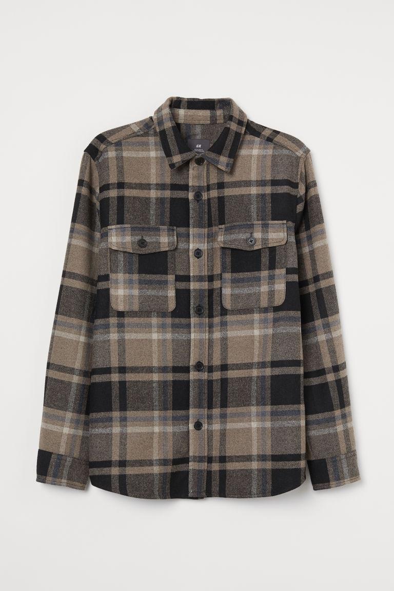 H & M - 斜紋襯衫式外套 - 米黃色
