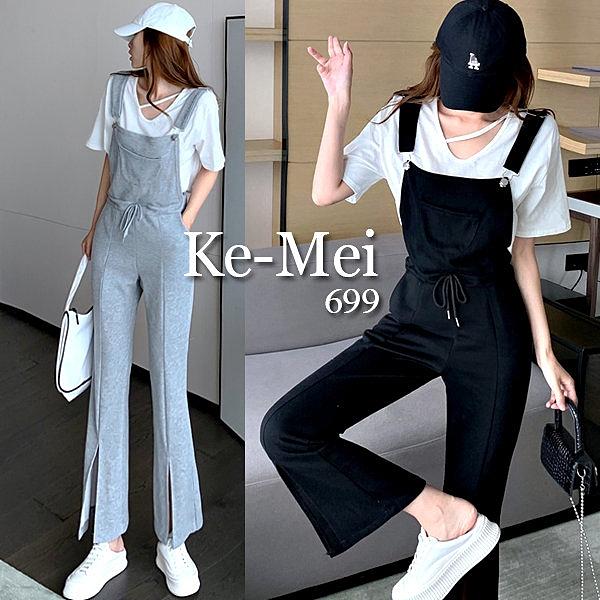 克妹Ke-Mei【ZT67108】KOREA韓妞時髦感口袋抽繩開叉闊腿吊帶褲套裝