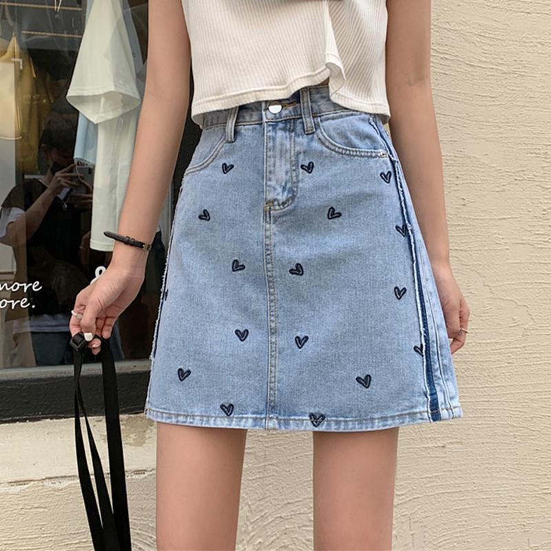 IELGY 愛心刺綉牛仔半身裙女夏裝2021新款高腰顯瘦A字裙氣質包臀短裙