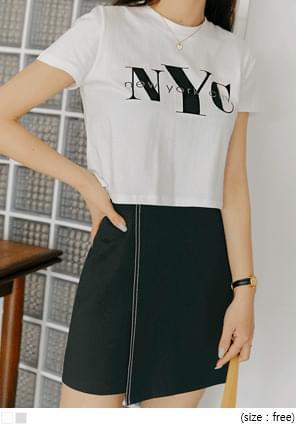 韓國空運 - 字母燙印短版短袖T恤 短袖上衣
