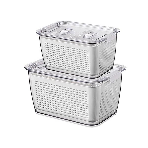 分隔雙層瀝水收納盒(大+中)白色【小三美日】 DS000817