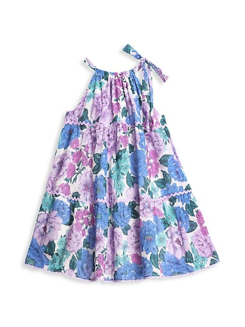 Little Girl's & Girl's Poppy Floral Halter Tie Dress