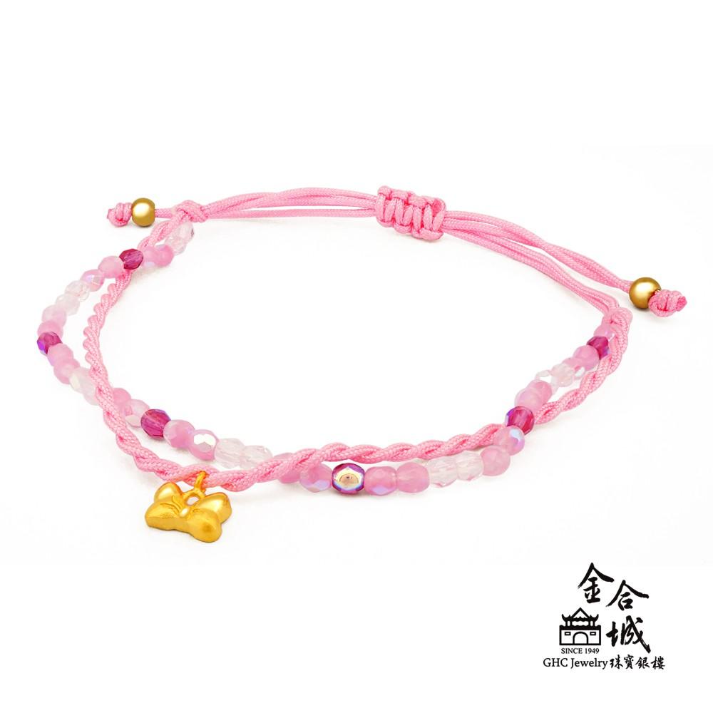 【迪士尼金飾】米妮蝴蝶結編織手環(金重約0.20錢)