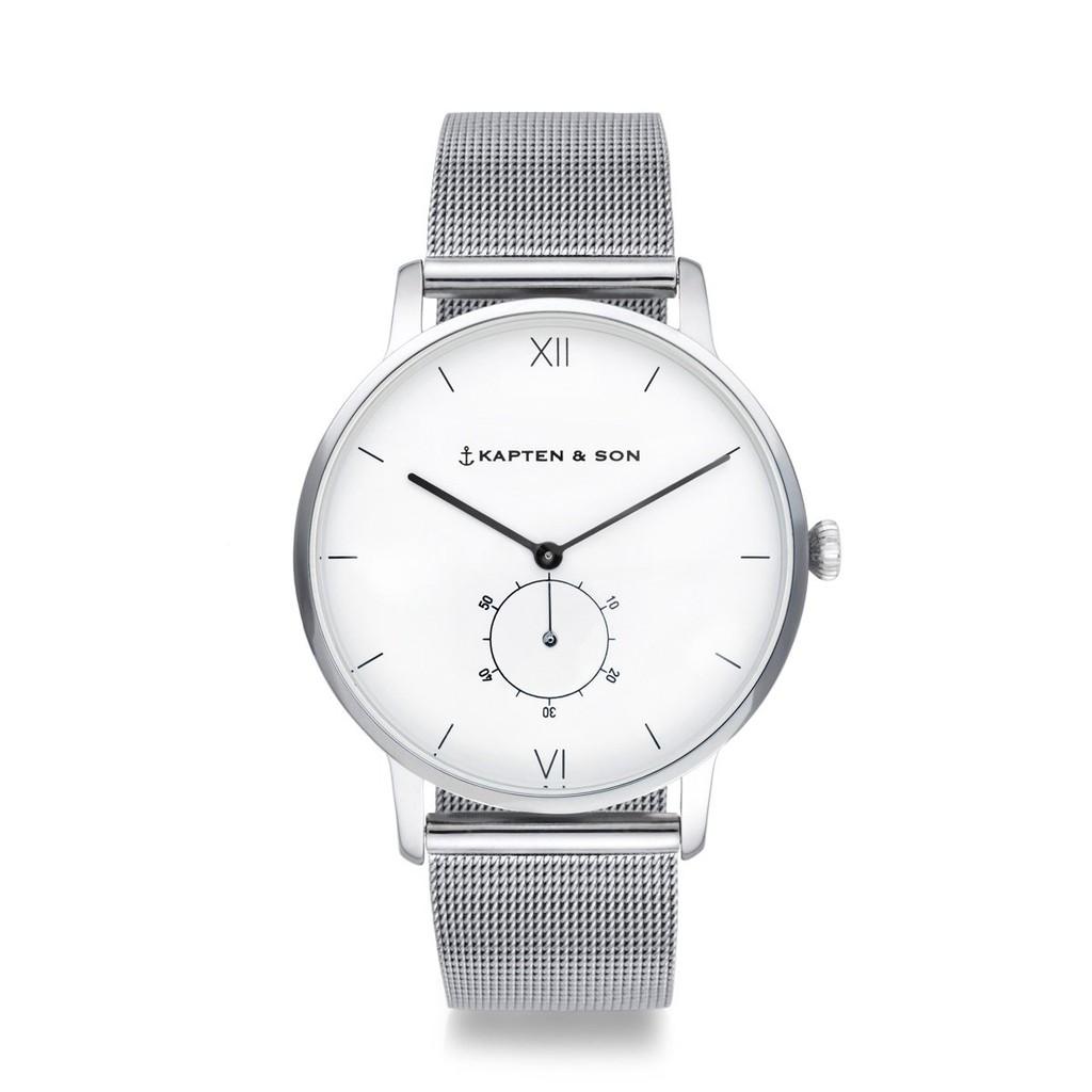 HERITAGE典藏系列-圈圈小秒針輕奢白色錶盤米蘭錶帶手錶(銀)