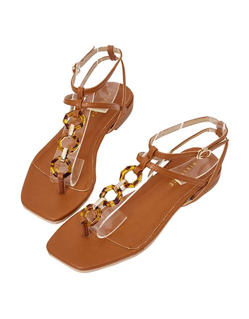 琥珀鍊雙帶夾腳平底涼鞋