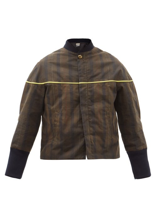 Stefan Cooke - Plaid Waxed-cotton Bomber Jacket - Mens - Brown