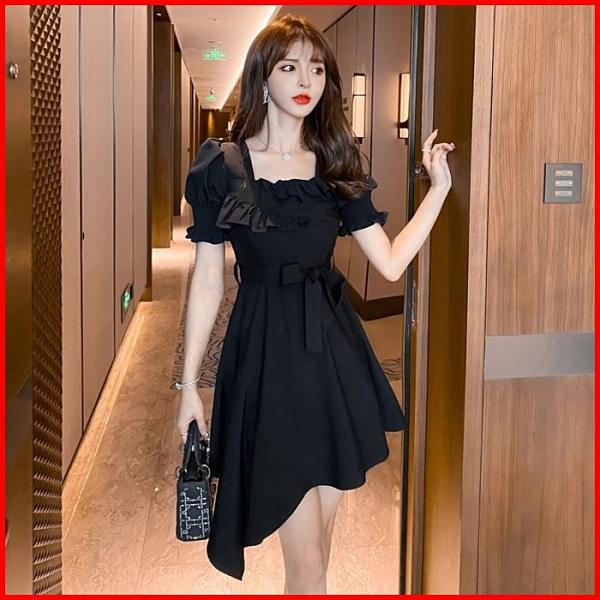韓系春夏短袖洋裝婚禮宴會派對連身裙荷葉邊黑色連衣裙 依二衣