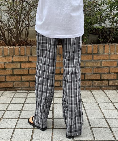 韓國空運 - Check wide banding trousers 長褲