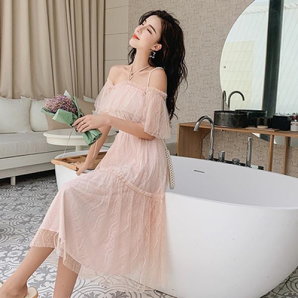 短袖連身裙8222# 夏裝蕾絲雪紡連身裙女法式復古小眾連身裙T511A紅粉佳人