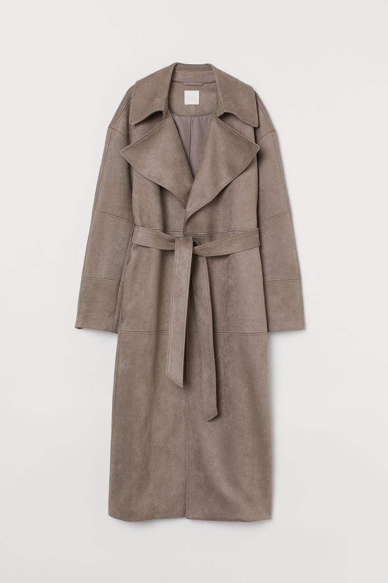 H & M - 仿麂皮大衣 - 灰色