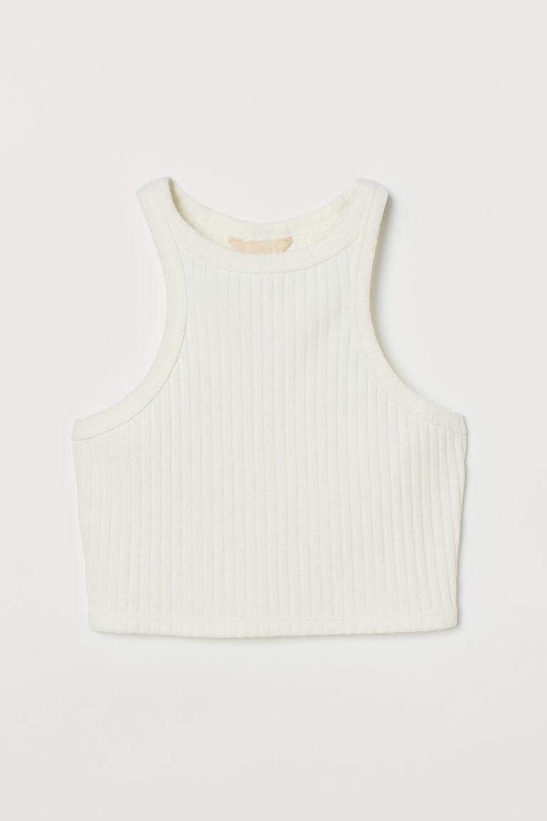H & M - 短版上衣 - 白色