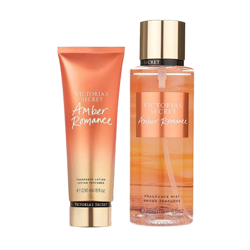 Victoria's Secret維多利亞的秘密浪漫琥珀身體乳液236ml+身體噴霧250ml
