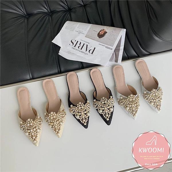 穆勒鞋 華麗珍珠點綴蕾絲襯底 涼鞋 拖鞋*KWOOMI-A45