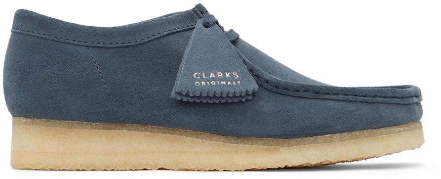 Clarks Originals 蓝色 Wallabee 绒面革莫卡辛鞋