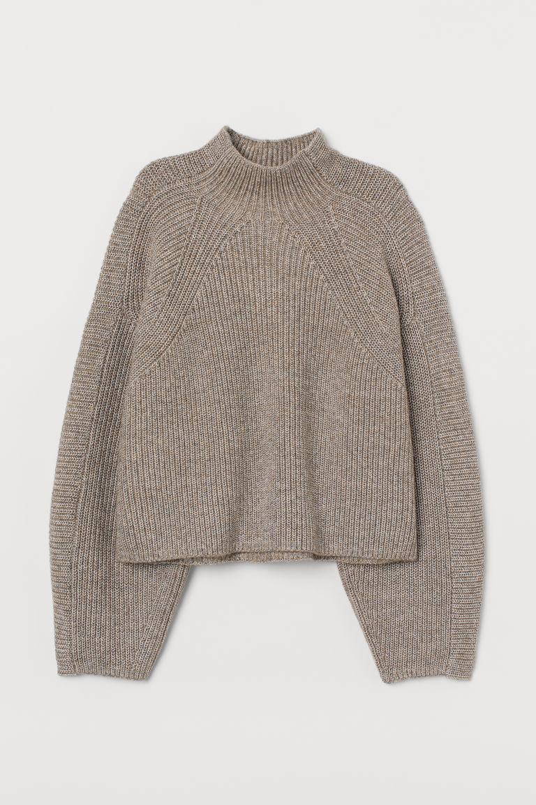 H & M - 高領套衫 - 米黃色
