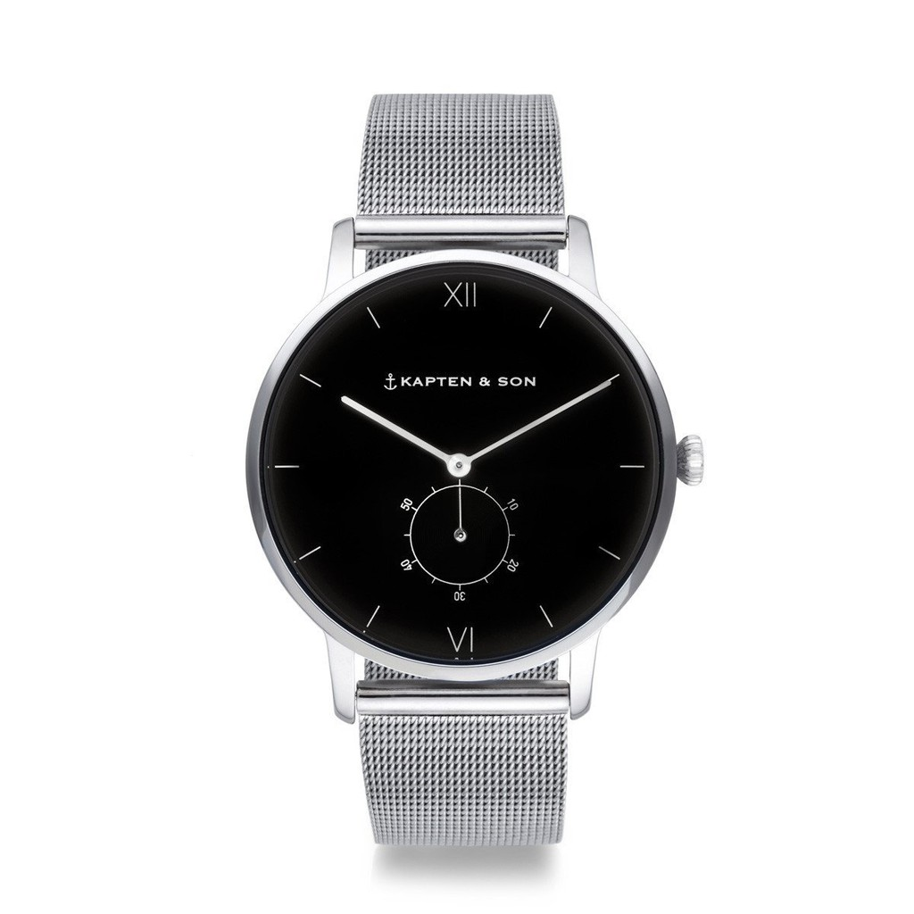 HERITAGE典藏系列-圈圈小秒針輕奢黑色錶盤米蘭錶帶手錶(銀)