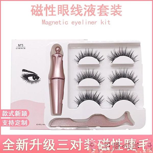 假睫毛磁鐵假睫毛磁吸磁石睫毛磁性眼線液套裝免膠水自然仿真三對裝3D 芊墨左岸