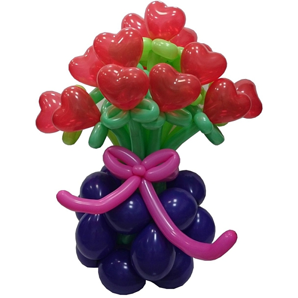 【大倫氣球】心心花束+花籃-氣球DIY組 Heart Flower Bouquet Balloon DIY 氣球佈置 開幕 派對 乳膠氣球