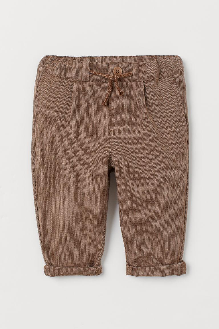 H & M - 斜紋鬆緊式長褲 - 褐色
