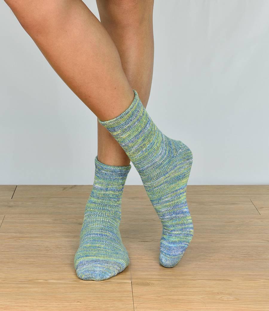 男彩色混紗發熱襪-綠 (商品編號:S1000555)