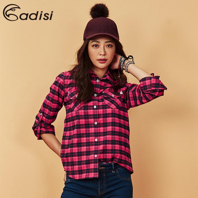 ADISI 女格紋速乾保暖襯衫AL1821082 (S-2XL) / 城市綠洲 (中空保暖紗、快乾、吸濕發熱)