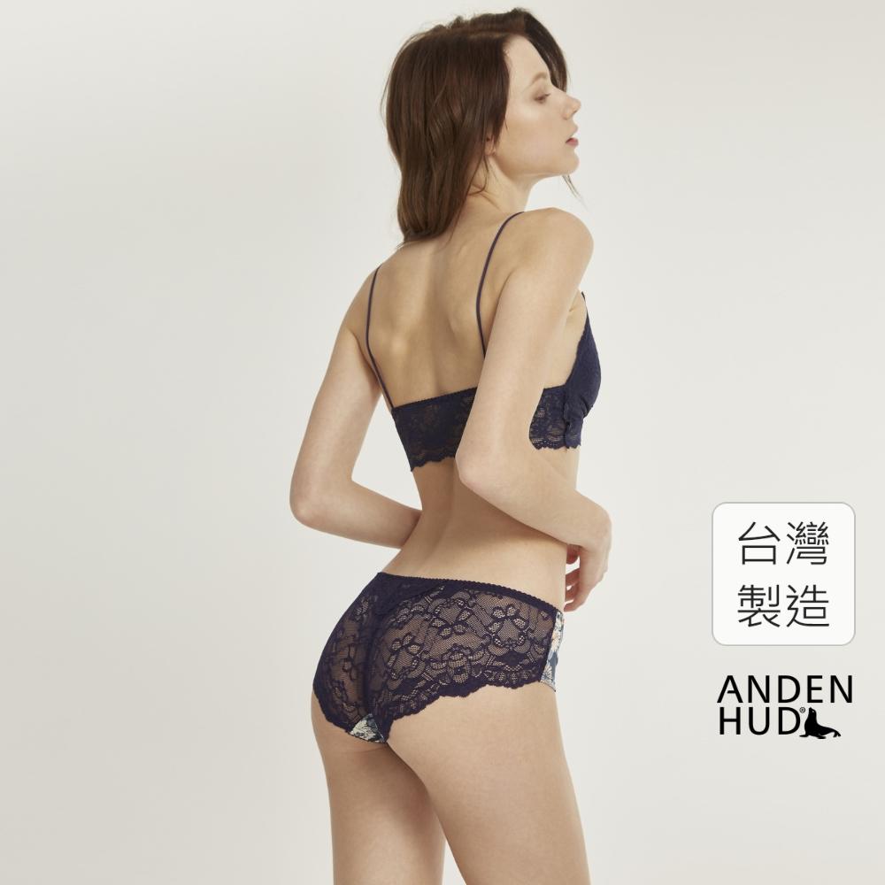 【Anden Hud】花謎.後片訂製蕾絲中腰三角內褲(深藍-牡丹) 台灣製