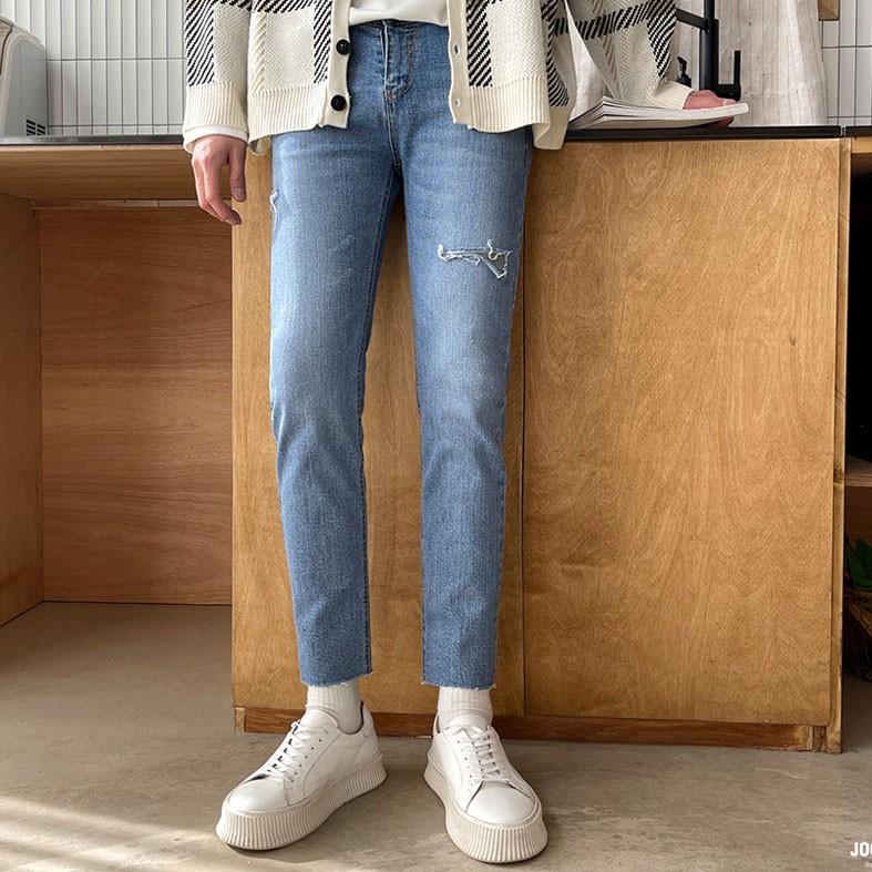 正韓小刀割不收邊彈性腰圍窄管牛仔褲 (3001) YUPPIE 預購商品 0405