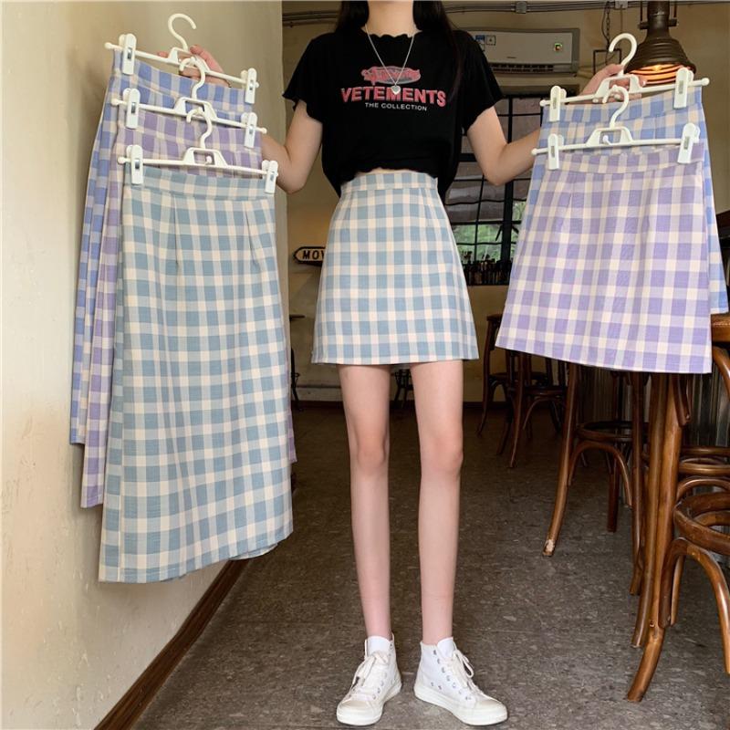 IELGY 學生復古格子半身裙女夏季2021新款裙子高腰韓版中長款一步包臀
