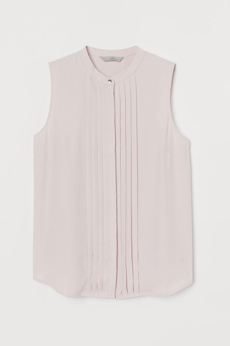 H & M - 無袖細褶女衫 - 粉紅色
