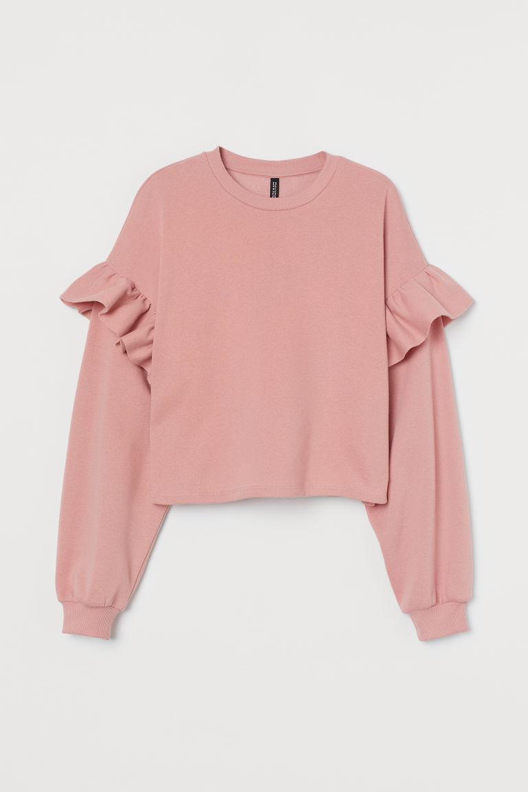 H & M - 荷葉邊運動衫 - 粉紅色