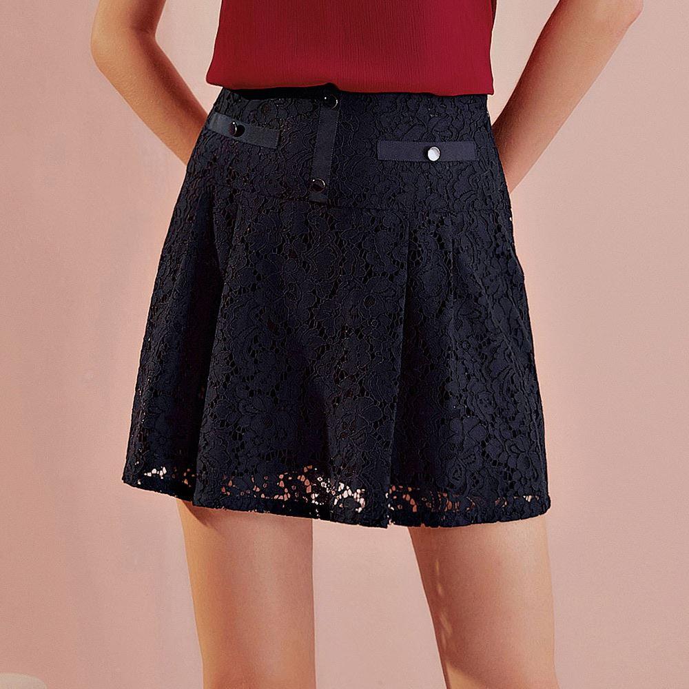 OUWEY歐薇 質感蕾絲A字褲裙(藍)J56838