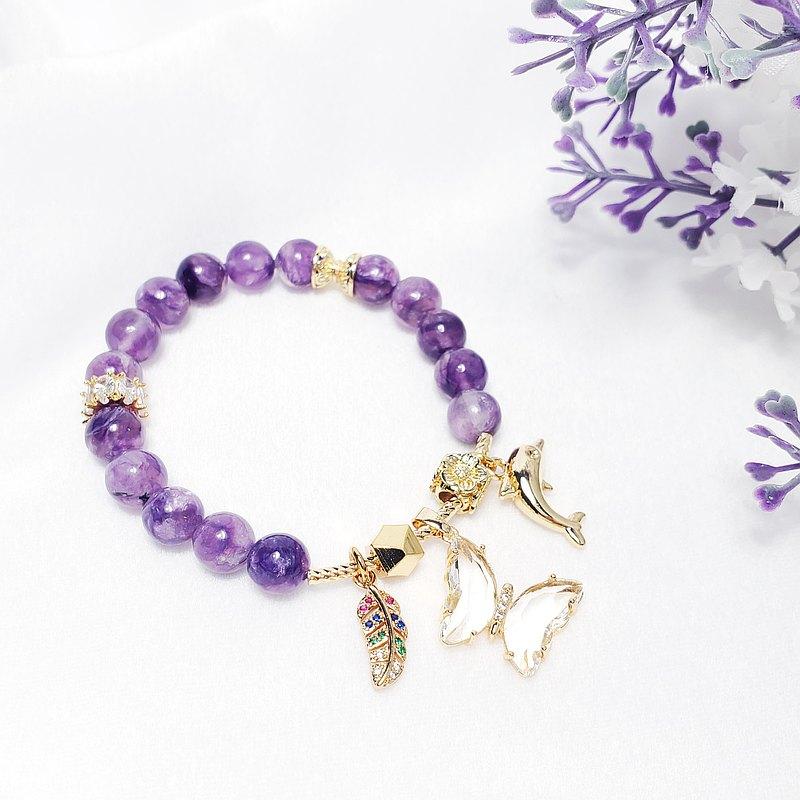 天然 頂級 紫龍晶 玉化 海豚 蝴蝶 羽毛 自由 清淨 富貴 手鍊