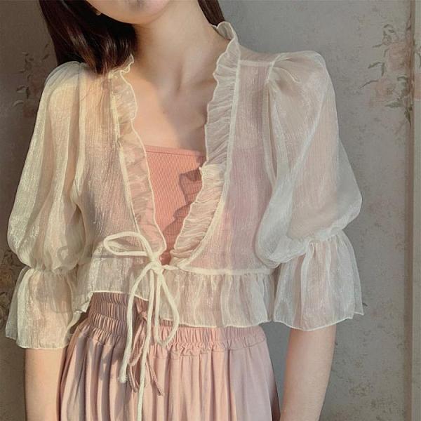 超仙雪紡小披肩女夏季薄款開衫外搭白色短款小外披配吊帶裙子罩衫 伊蘿