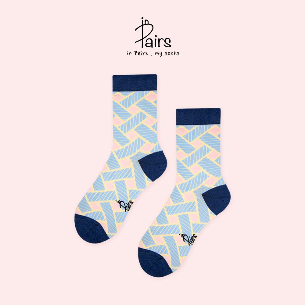 【in Pairs】編織中筒襪-藍M 【康是美】