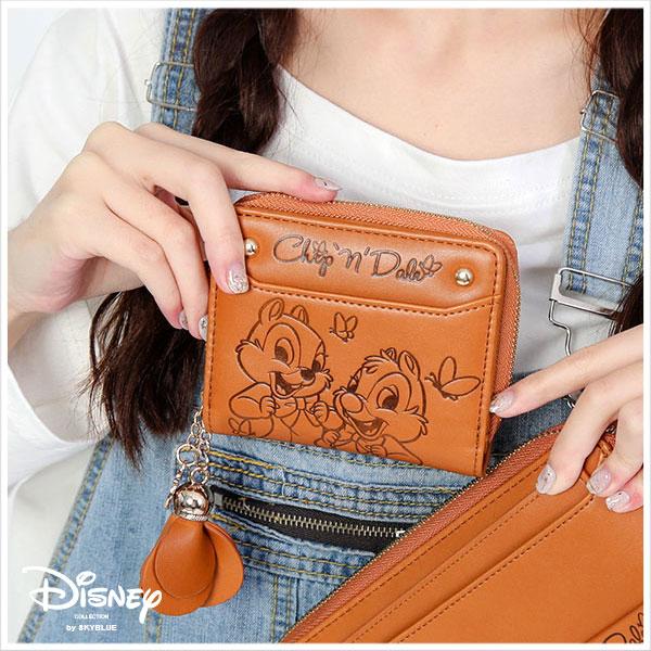 天藍小舖-迪士尼系列甜蜜花園烙印奇奇蒂蒂款短夾-單1款-$390【A08081125】