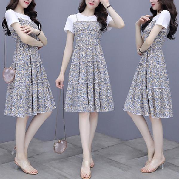 兩件套裝短袖夏季韓版假兩件碎花連衣裙女時尚拼接圓領褶皺A字裙潮H362紅粉佳人