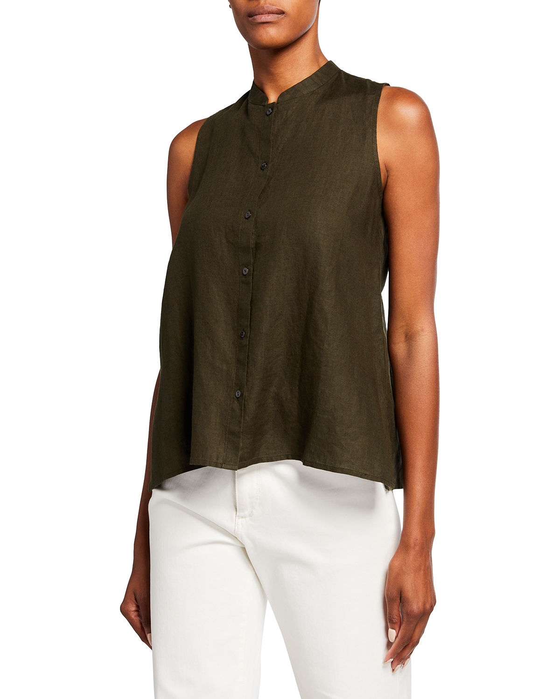 Mandarin-Collar Sleeveless Organic Linen Top