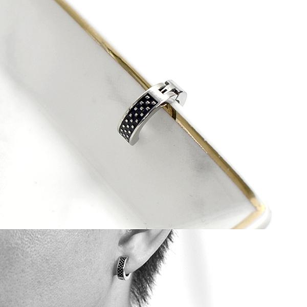 夾式耳環 鋼製方框銀點點 ND777