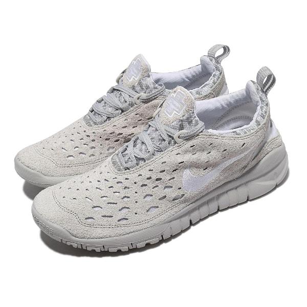 Nike 慢跑鞋 Free Run Trail 灰 白 麂皮 赤足 男鞋 越野跑鞋【ACS】 CW5814-002