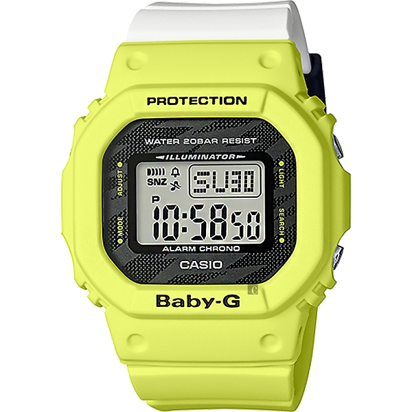 CASIO 卡西歐 Baby-G LIGHTING YELLOW SERIES戶外運動計時手錶 BGD-560TG-9