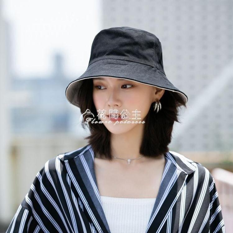 雙面漁夫帽女夏季韓版百搭日繫防曬遮陽帽子女防紫外線太陽帽圓臉