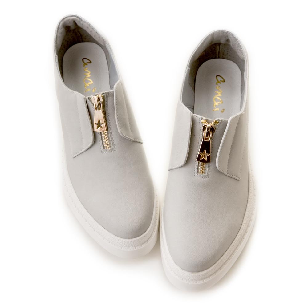 【預購04/27出貨】《穿厚底來摘星》前低後高厚底休閒鞋 灰 GW18-99GY