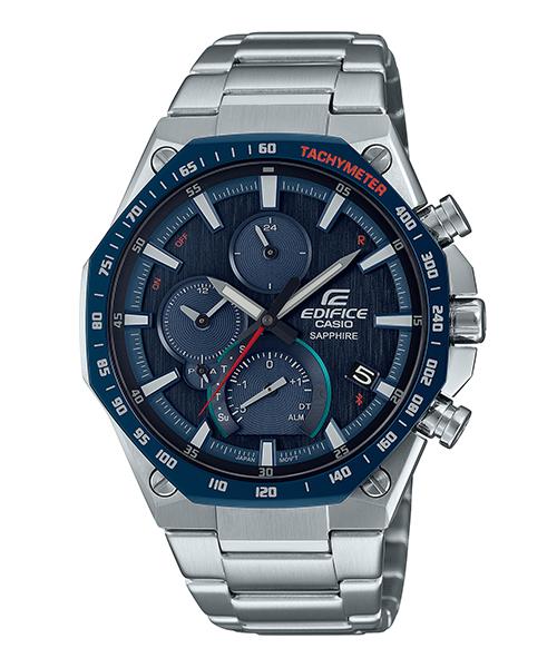 【CASIO卡西歐】EDIFICE 旗艦八角設計藍牙太陽能手錶-藍紅 (EQB-1100XDB-2A)