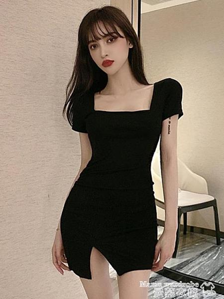 針織洋裝 格格家 夏季網紅性感收腰方領短袖包臀短裙修身針織開叉連身裙女 曼慕