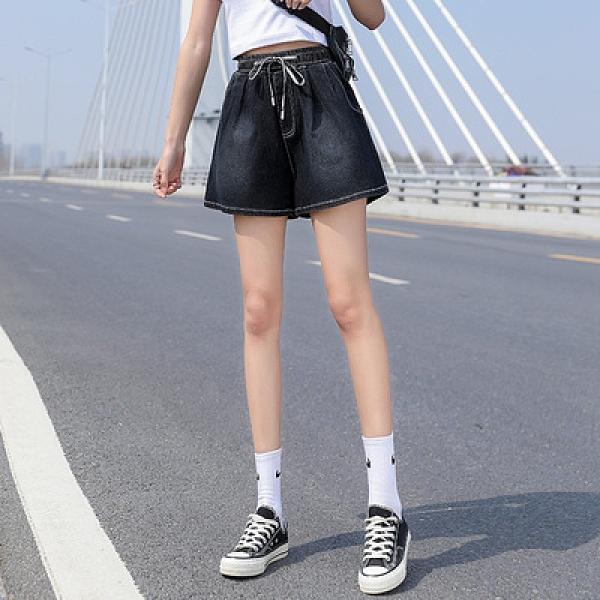 牛仔熱褲女大碼女裝200斤百搭舒適高腰闊腿褲短褲春夏6856F1039快時尚
