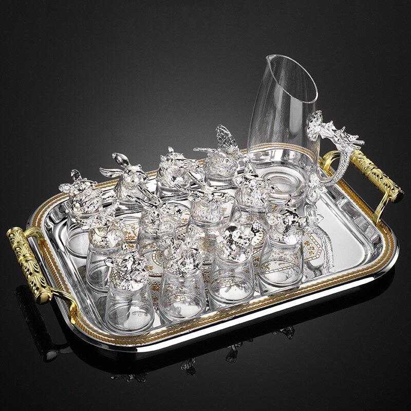 12只十二生肖白酒杯套裝分酒器水晶玻璃中式酒具小