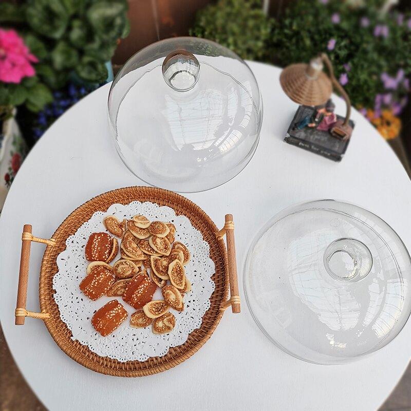 蛋糕盖 防塵罩 家用蛋糕罩透明玻璃蓋子 藤編托盤密封早餐點心盤 創意ins保鮮蓋『cyd0360』