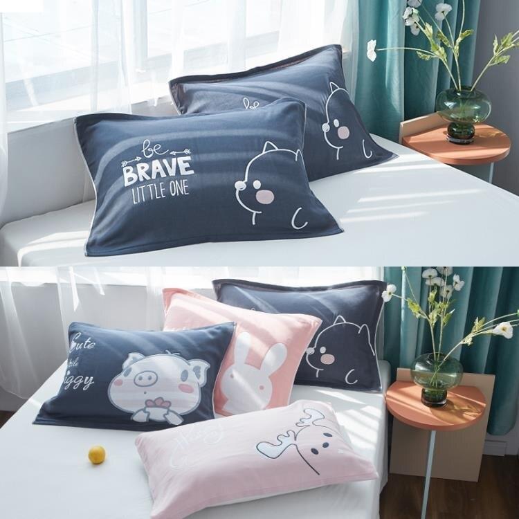 枕巾一對裝純棉高檔紗布簡約北歐單人防滑不脫落枕頭巾